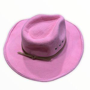 MUD PIE Pink Felt Cowboy Hat with Leather tie